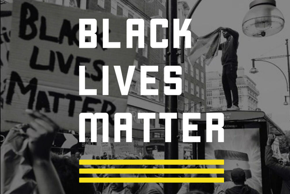Black Lives Matter logo and protest photo background