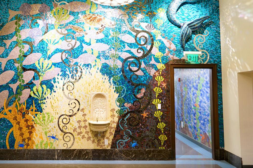 Children's Department  - mosaic wall and water fountain