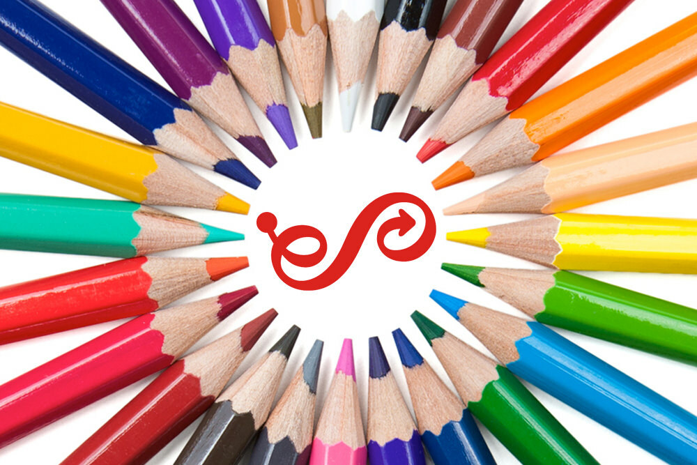 colored pencils in a circle with Enoch Pratt Free Library logo mark in the center