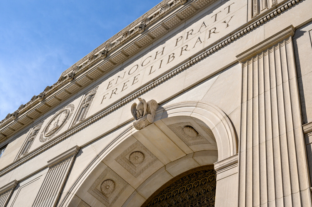 Enoch Pratt Free Library - entrance arch at the Central Library