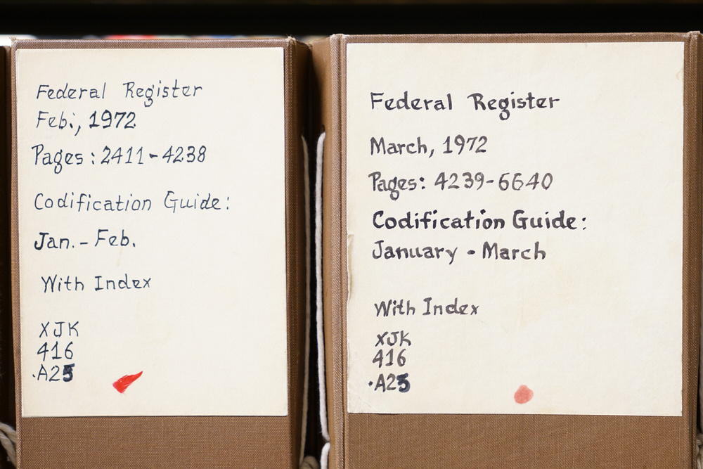 Government Documents labels - Federal Register 1972