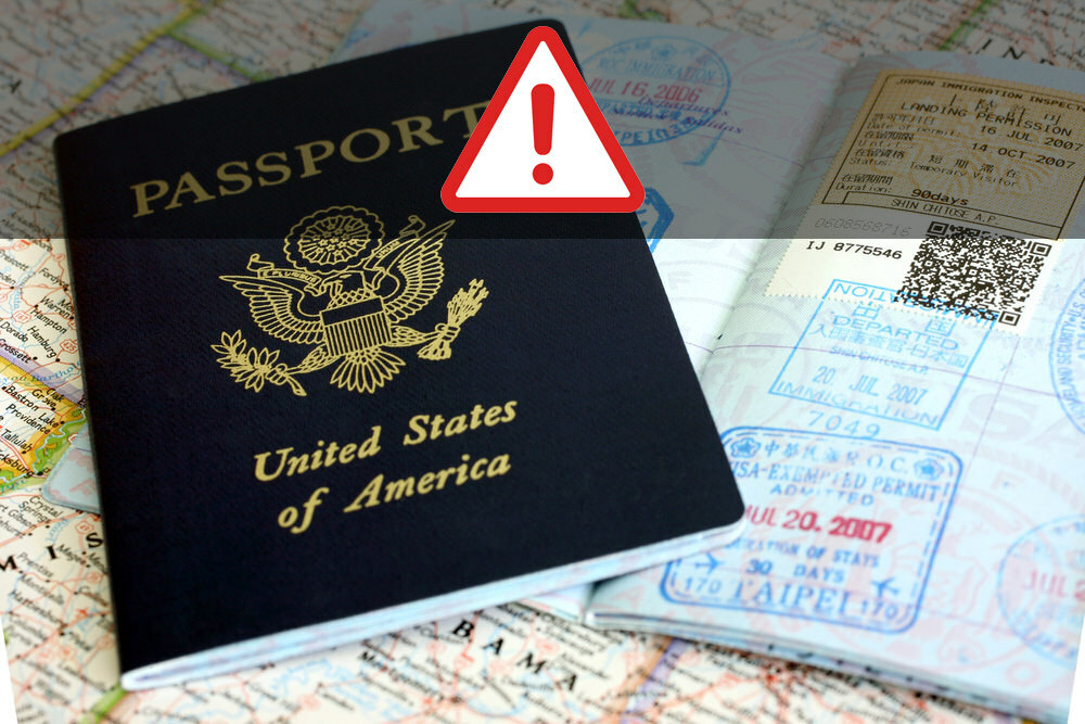 Passport with travel stamps on map