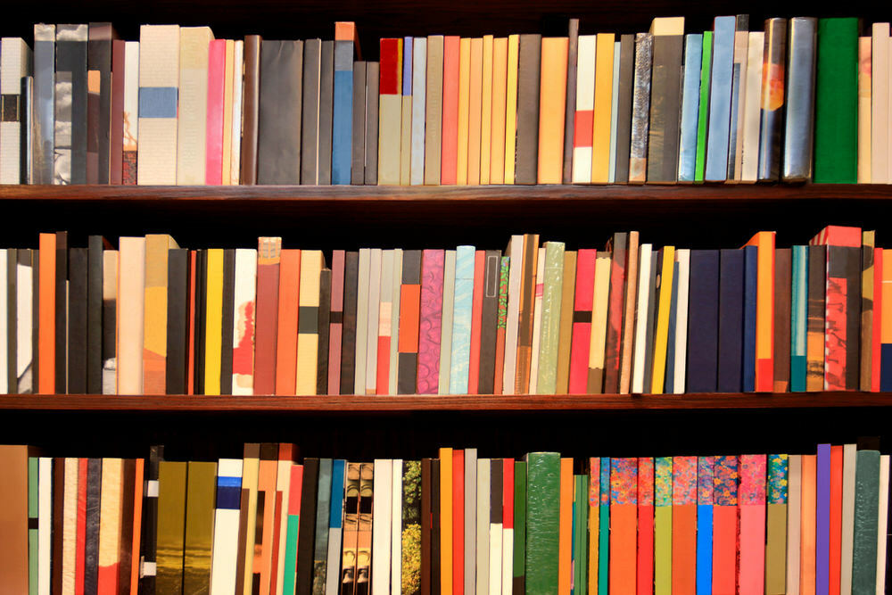 bookshelves - colorful dark anonymous books