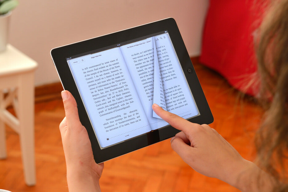 eBook pages being turned on a digitaltablet