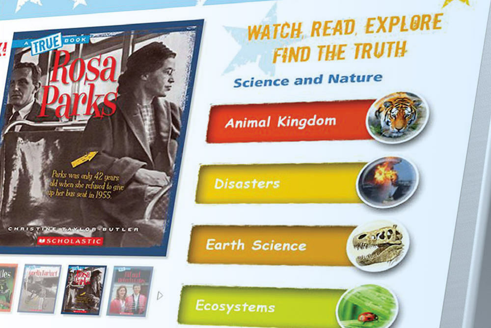 Scholastic databases for kids - Rosa Parks and science categories on a screen