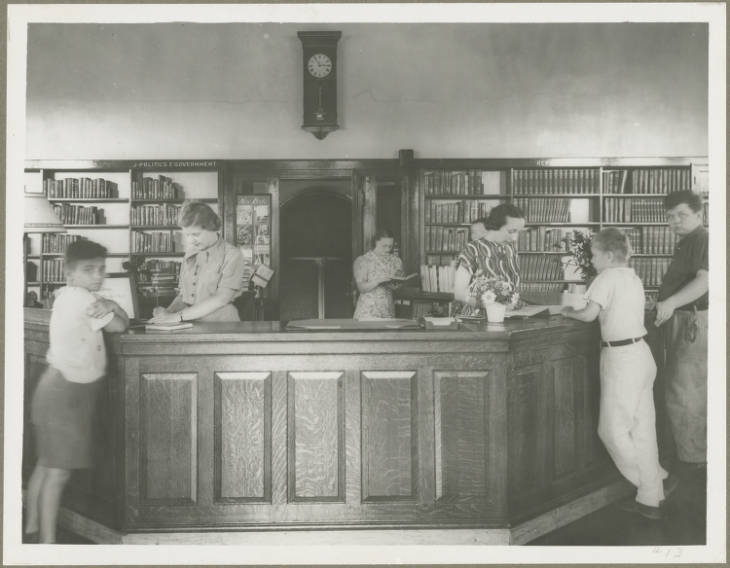 Branch 13 Patterson park circulation desk 1910 1960