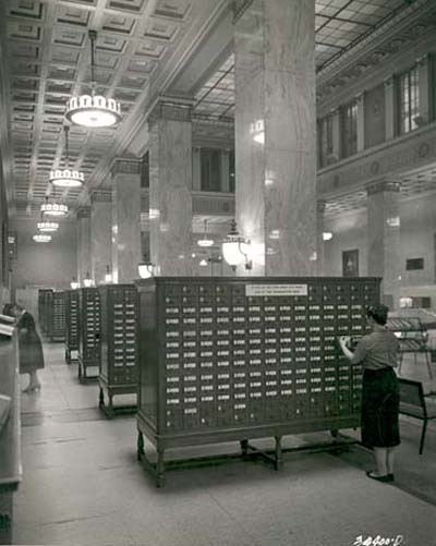 Central library public card catalog