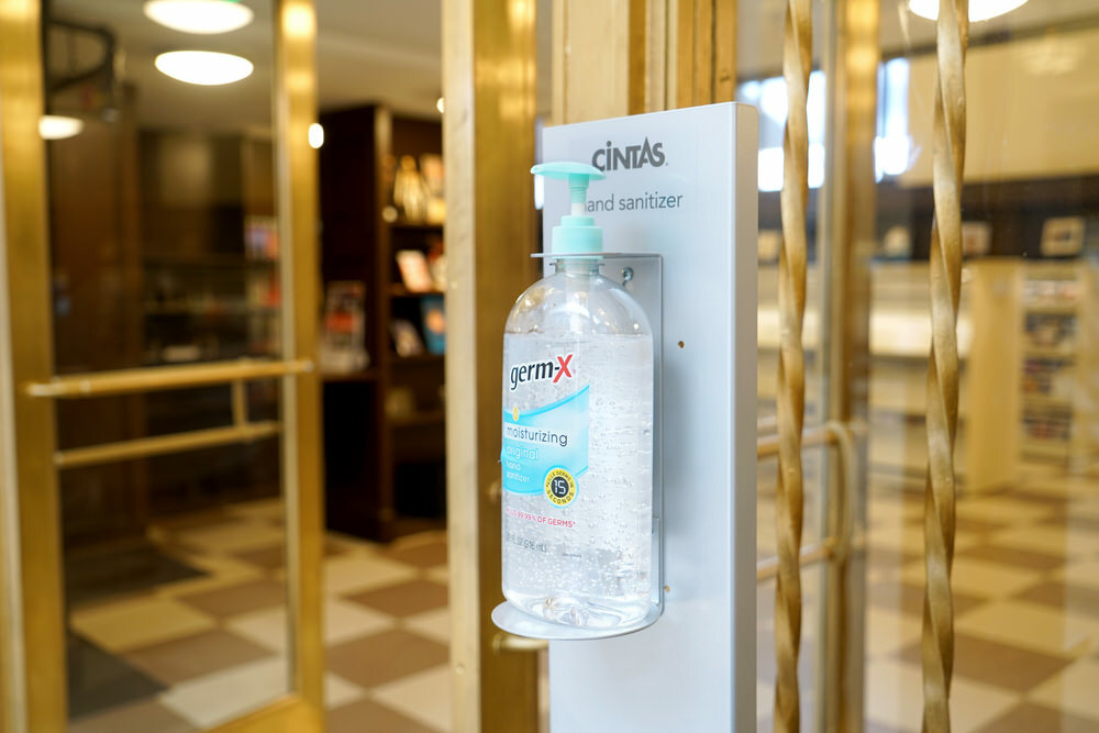 hand sanitizer at an entrance in Central Librray