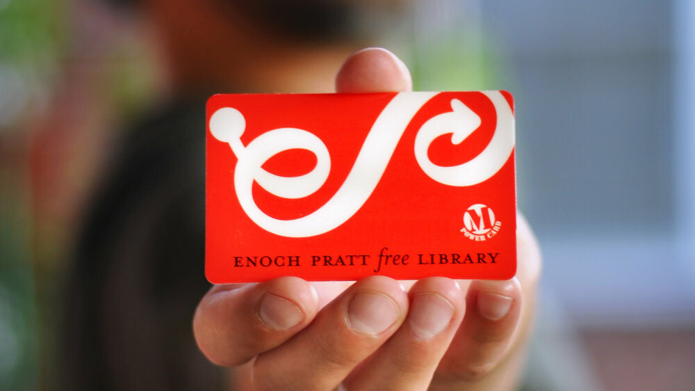 Pratt Library Card in hand
