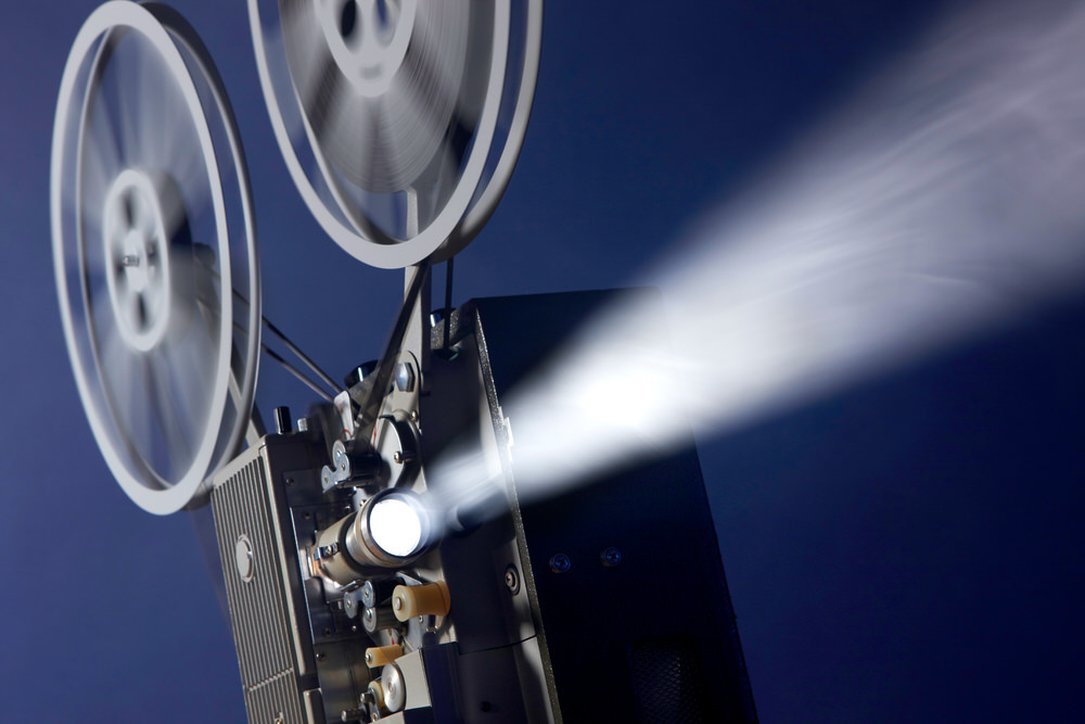 16mm film projector reels in motion