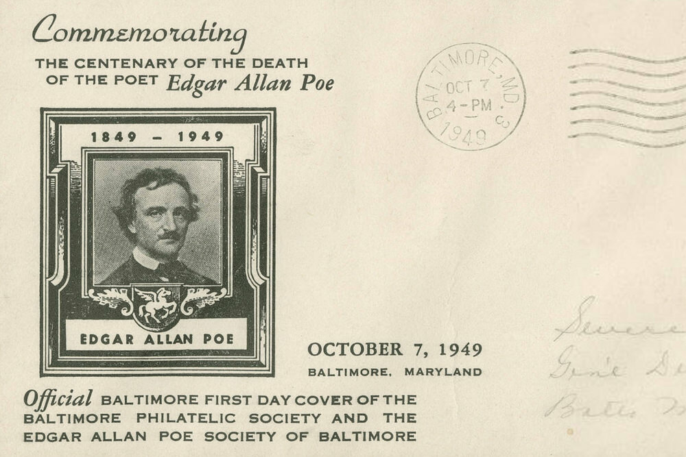 Edgar Allan Poe commemorative postcard, 1949