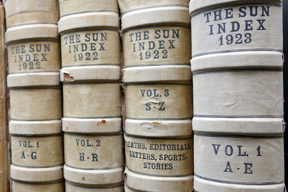 The Sun Index bound volumes from 1922, 1923