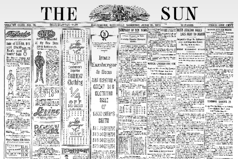 Baltimore Sun historic newspaper, digital 1913 page scan