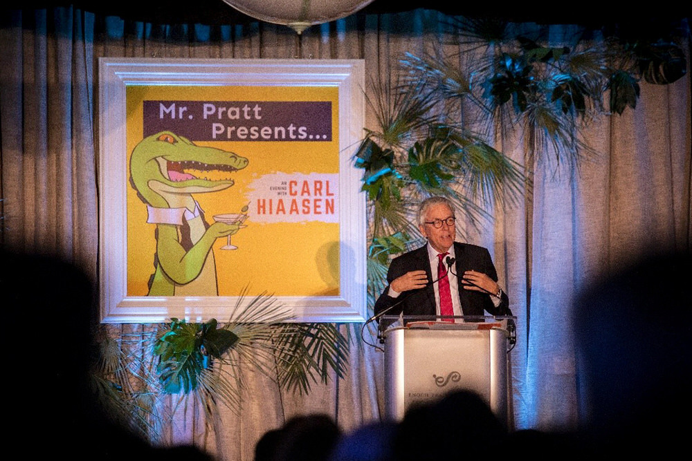 Pratt Society event with Carl Hiaasen on Stage